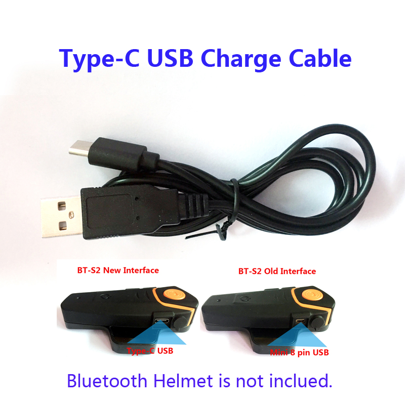 Motorcycle Bike Helmet Accessories Type-C USB Charge Cable Suit For BT-S2 New Interface Bluetooth Helmet Headset Intercom