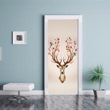 2pcs/set  European Style Deer head Photo Wall Mural Door Sticker Living Room Bedroom PVC Self-Adhesive Waterproof Wallpaper