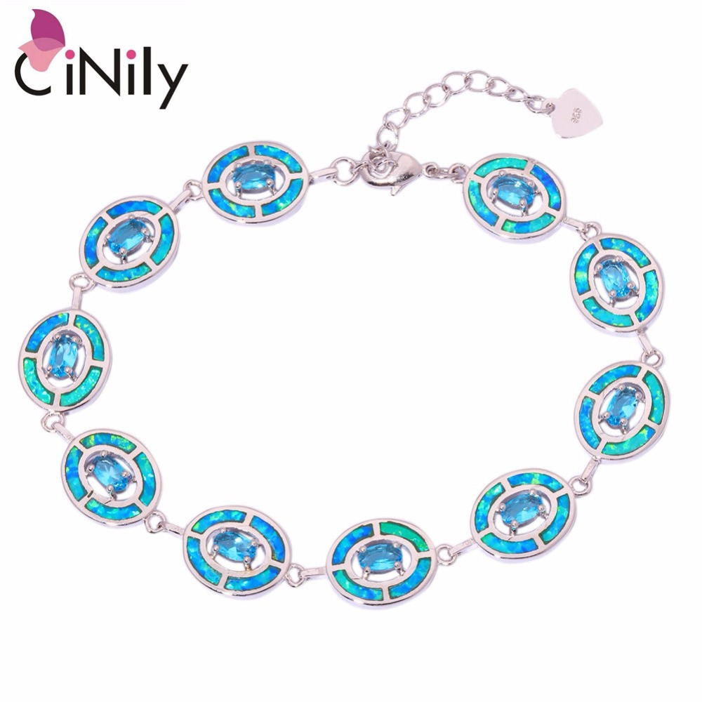 CiNily Created Blue Fire Opal Blue Stone Silver Plated Wholesale 2018 NEW for Women Jewelry Chain Bracelet 7 1/4-9 1/4 OS493 wholesale 1 4 2v3a