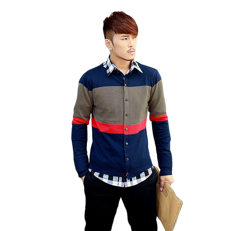 Mens Sweatercoat Sweater Thin Red Blue Casual Round Neck Fashion Knit Sweater Knitwear Coat Top Cardigan Striped Spring Autumn