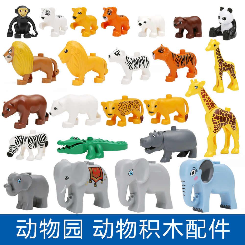 20ピースデュプロオリジナルクラシック動物園大きなビルディングブロック教育子赤ちゃんのおもちゃlegoinglyライオン豚diyセットレンガギフト