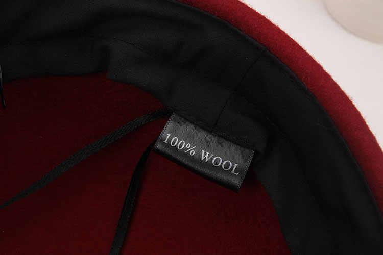 Женская шерстяная фетровая шляпа, осенне-зимняя модная Элегантная кепка с перьями и бантиком, для студентов, для отдыха, шерстяной берет, шерстяная теплая шапка, B-8687