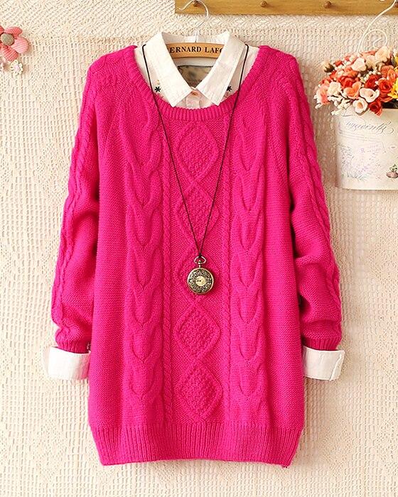 Moda invierno cálido jersey mujer jersey mujer Vintage de manga larga del o  cuello de lana de gran tamaño suéteres 2 en Pullovers de La ropa de las  mujeres ... 729fd953d528