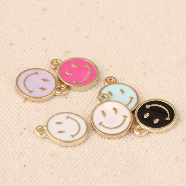 Wholesale kawaii oil drop jewelry charms gold tone plated enamel wholesale kawaii oil drop jewelry charms gold tone plated enamel smiling face bracelet necklace floating pendant aloadofball Image collections