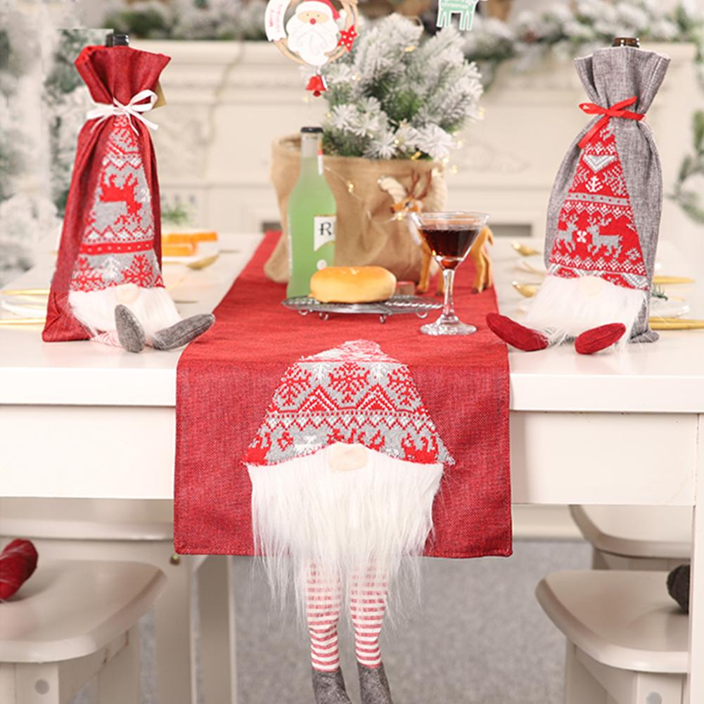 Christmas Table Flag Faceless Doll Rudolph Innovative 3D Santa Claus Table Decoration Placemat in Tablecloths from Home Garden