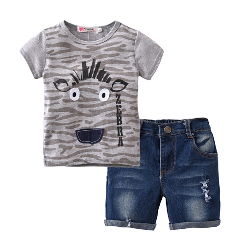 2018 Summer style Boy Clothes Set Kids Clothes Boys Clothing Short-sleeved T-shirt+Denim shorts 2 Pcs Outfit Set Children Suit