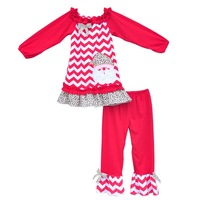 Hot Sale Kids Christmas Clothing Chevron Stripes Top With Santa Claus Soild Ruffle Pants Girls Fall