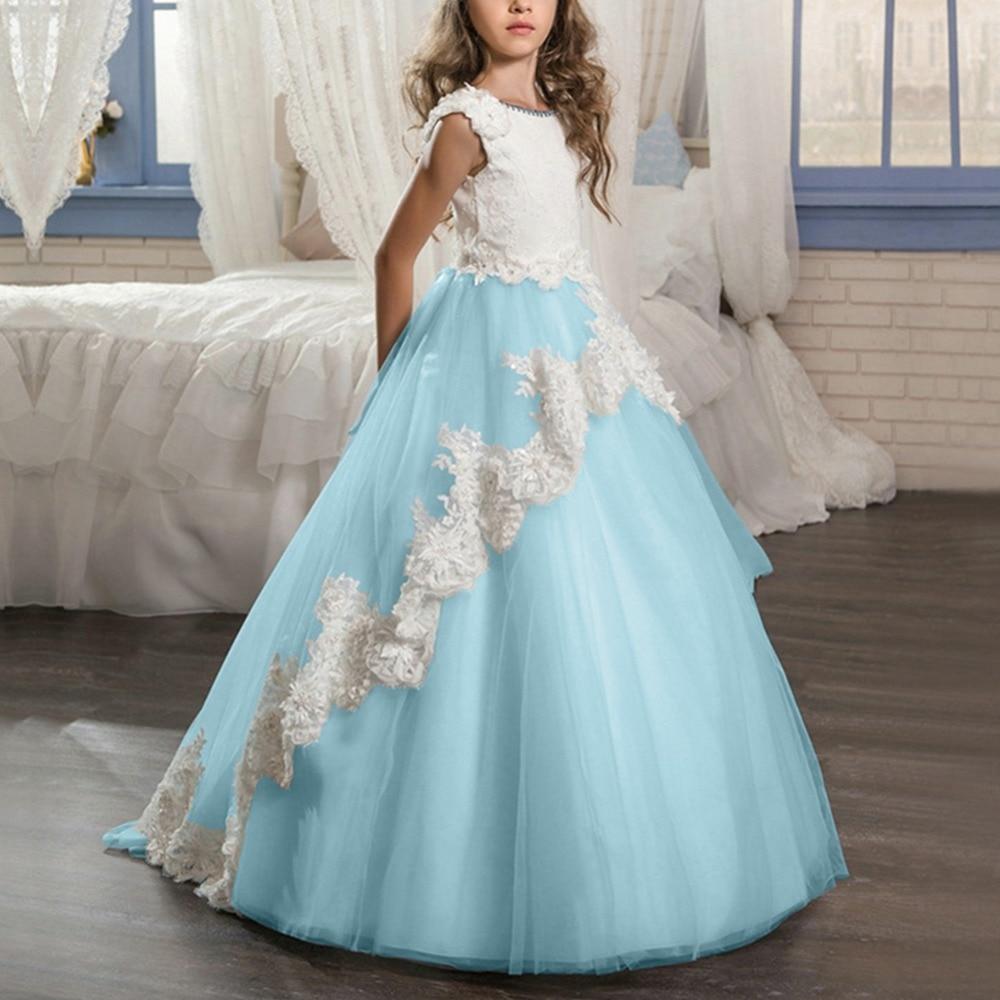 2019 mode nouvelle fleur filles mariage robe de demoiselle d'honneur pour enfants enfants robes pour filles fête d'anniversaire Pageant longue robe