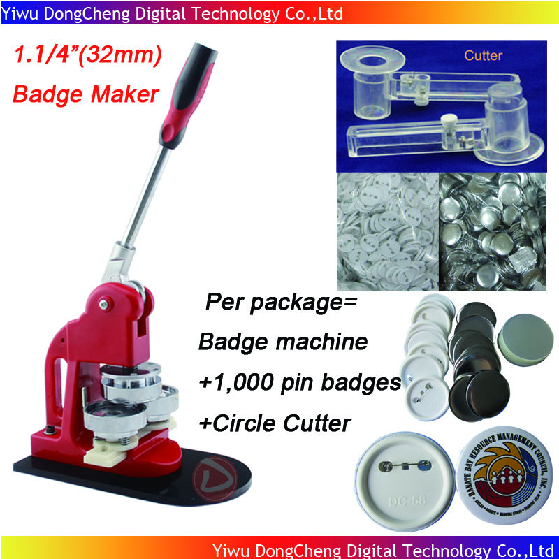 1.1/4(32mm) Badge Button Machine + Adjust Circle Cutter+1,000 Plastic Pin Badge Material,Free Shipping free shipping new pro 1 1 4 32mm badge button maker machine adjustable circle cutter 500 sets pinback button supplies