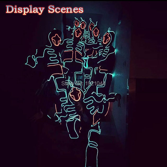 LED Suit Luminous Costumes Illuminated Glowing Hooded Men EL Clothes Cold Strip Talent Show LED Light Clothing Dance Party Decor