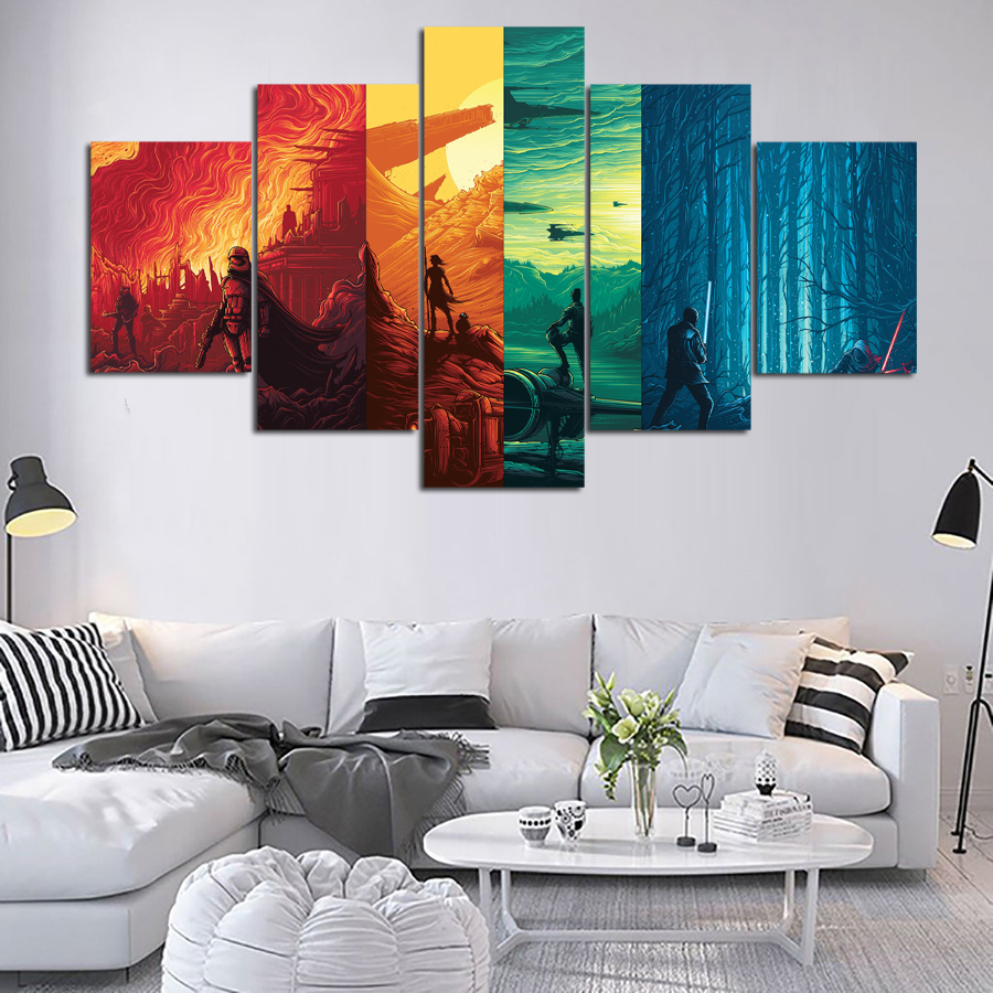 5 Piece Canvas Painting Star Wars Classical Movie Poster Painting ...