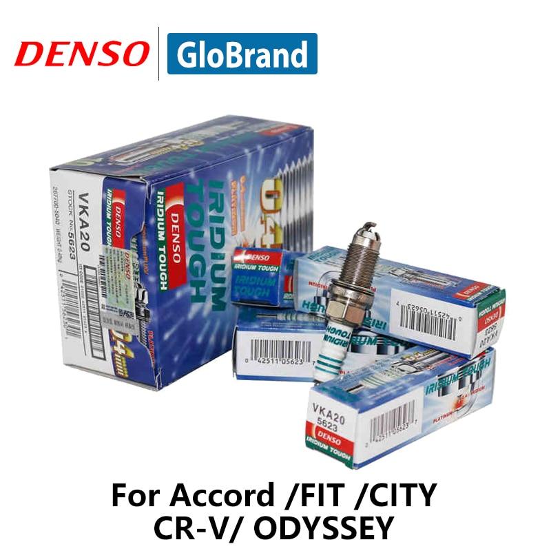 4pcs/lot DENSO Car Spark Plug For Honda Accord FIT CITY CR-V ODYSSEY Iridium Platinum VKA20 iridium spark plugs 4 pack