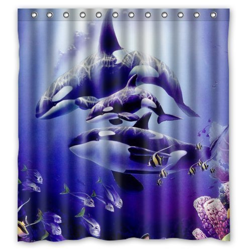 Orca Killer Whales Theme Design 100 Polyester Bathroom Shower Curtain Rings In Curtains From Home Garden On Aliexpress