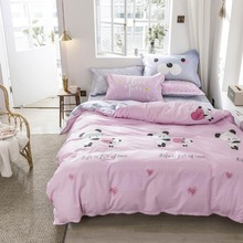 2019 Svetanya Cartoon Pink Panda Bedding Sets US Twin Queen Size Cotton Bedlinens Duvet Cover Set Bedsheet Pillow Cases