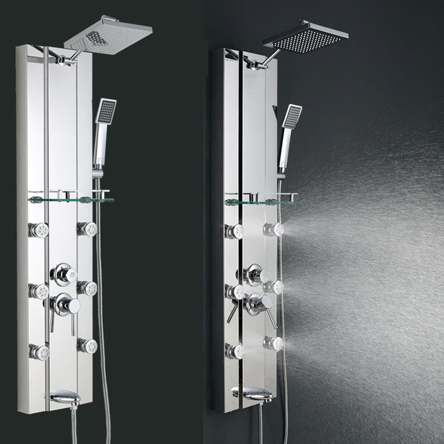 Charmant FedEx FREE SHIPPING Stainless Steel Rainfall Shower Panel Tower Tub Faucet  Spout 6 Body Massage Jets