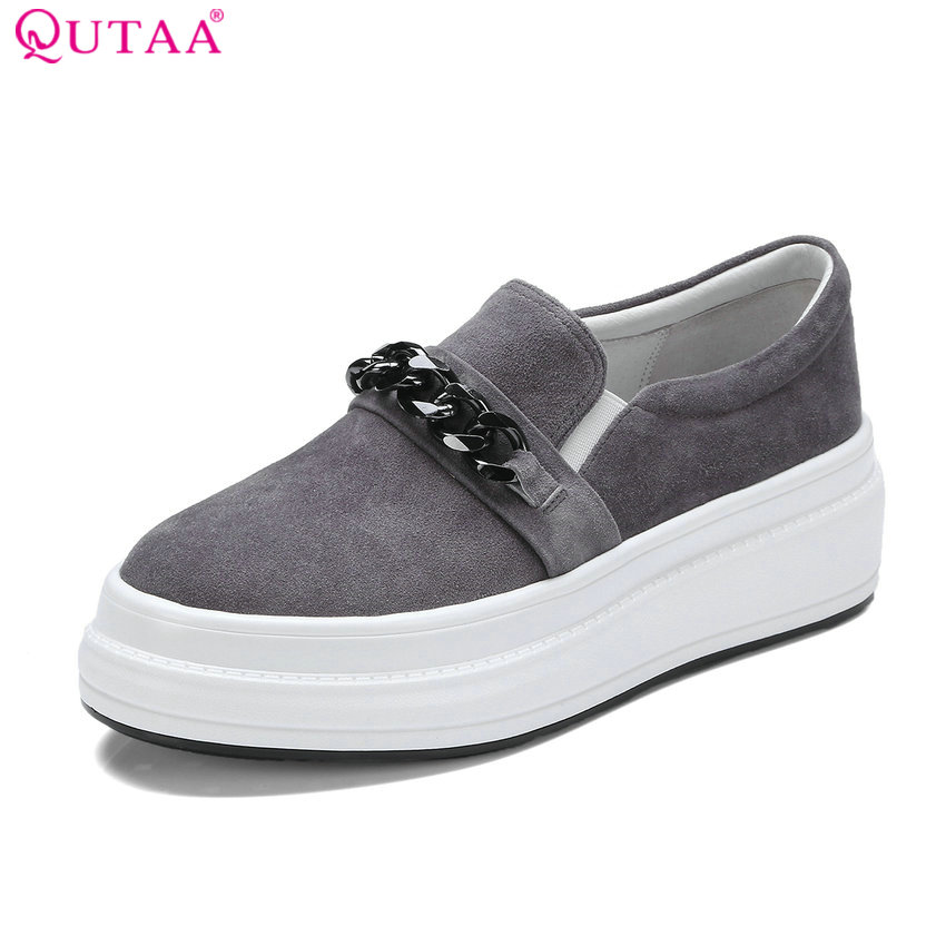 QUTAA 2018 Women Pumps Sweet Style Fashion Shoes Kid Suede Platform Slip on Wedges Heel Spring/ Autumn Ladies Pumps Szie 34-40 qutaa 2018 women pumps lace up platform women shoes round toe wedges heel spring autumn fashion ladies pumps szie 34 42