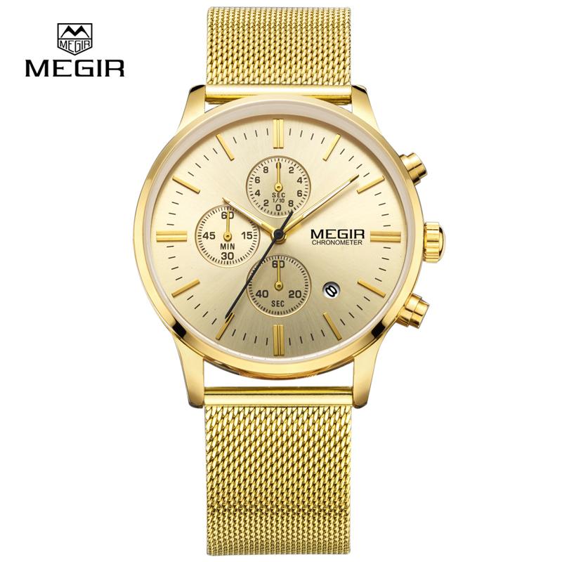 Prix pour MEGIR relogio masculino hommes de quartz montres mode étanche maille bande montre pour homme lumineux heure pour mâle robe montre 2011