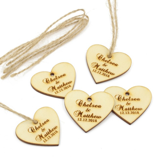 50 Pcs Personalized Wooden Love Heart Tags Engraved Gift Labels Wood