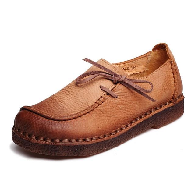 Женщины Ручной Работы Из Натуральной Кожи Обувь Мокасины Оксфорд обувь Мягкая Досуг Квартиры Женский Вождение Повседневная Обувь Ретро обувь женщина 147