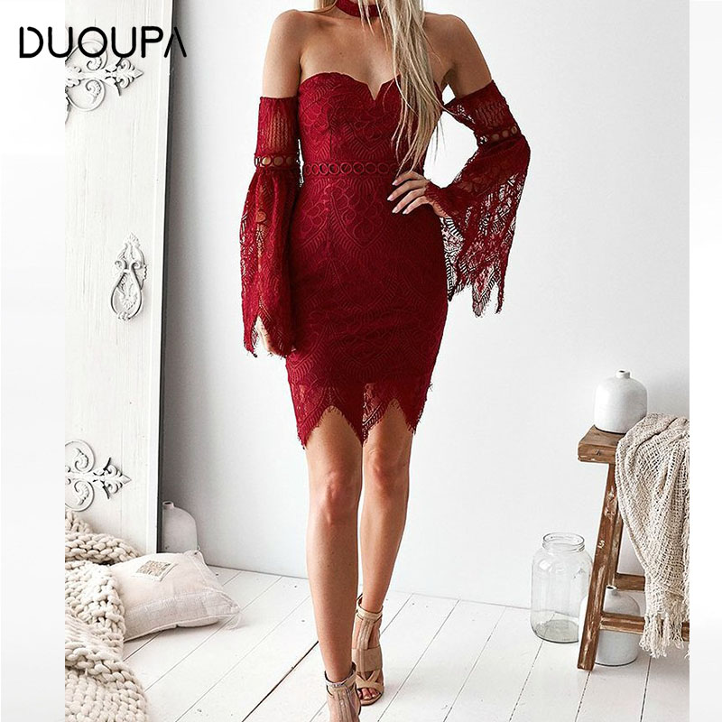 DUOUPA 2019 Fashion New Sexy Autumn Explosions Word Collar Long Sleeve Lace Dress Dress in Dresses from Women 39 s Clothing