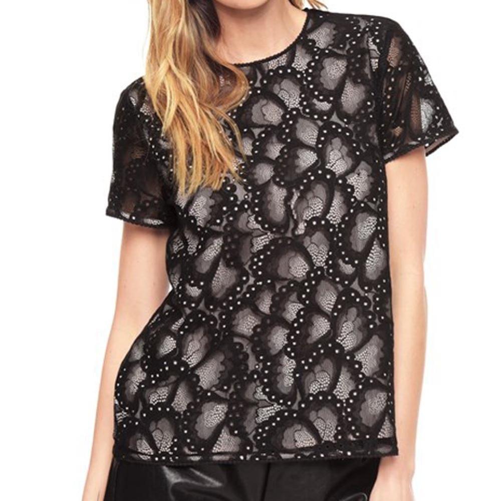 Fashion Sexy 2 Layers Lace Blouse Short Sleeve Summer Blusas Ladieswear