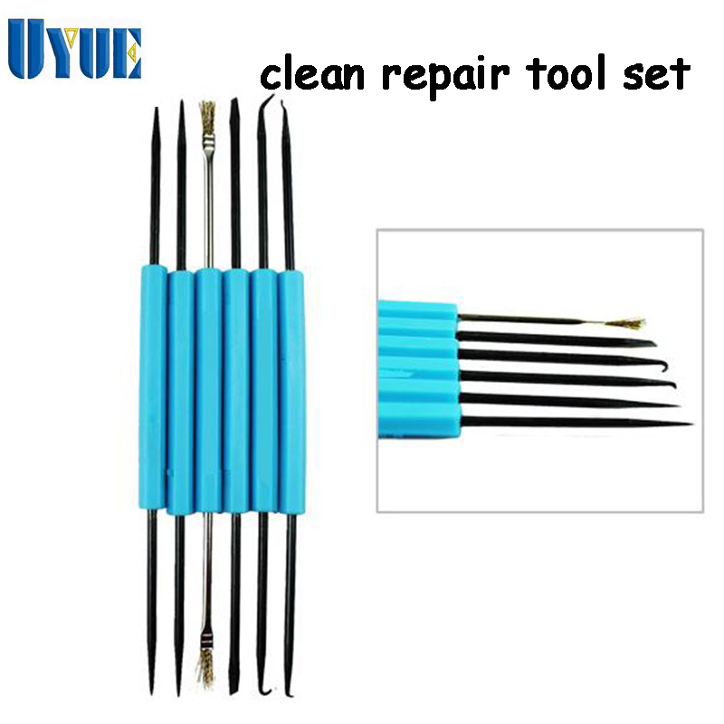6 pcs/set Steel Solder Precision Electronic Components Welding Grinding Cleaning Repair Tool Set Assembly Work Hand Tool Sets