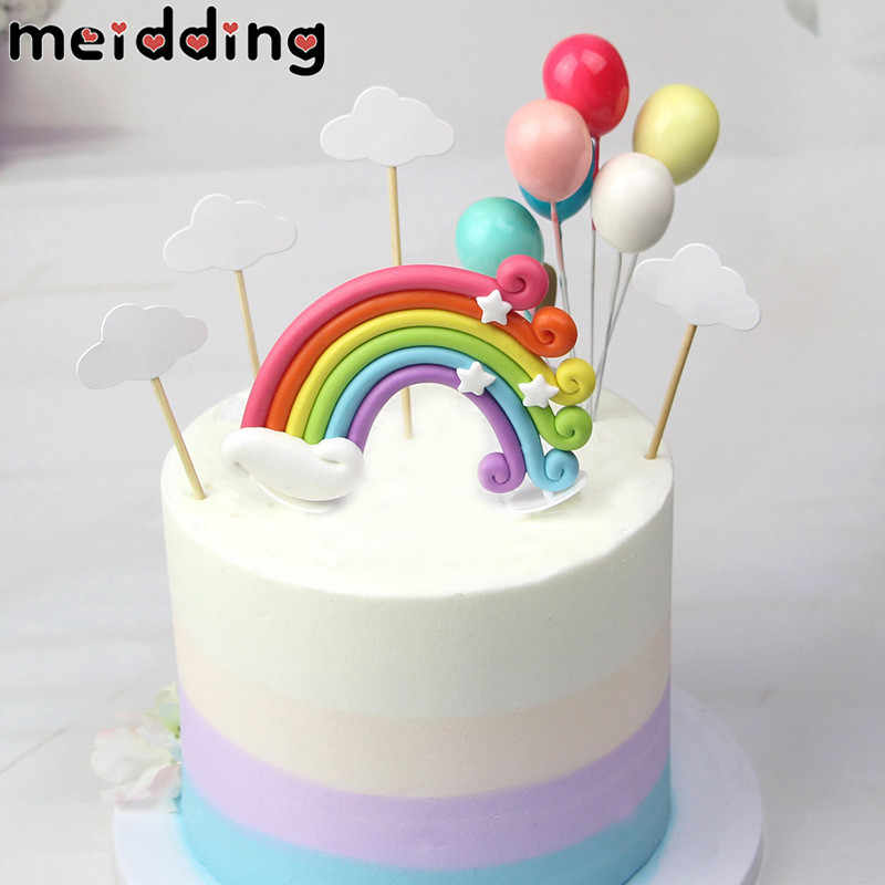 1set Rainbow Cake Toppers 1st Birthday Unicorn Party Cupcake Topper Cloud Egg Shape Flags Kids