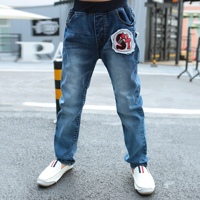 Label Boys Pants Jeans 2017 Fashion Boys Jeans for Spring Fall Children's Denim Trousers Kids Ripped Jeans Children Jeans