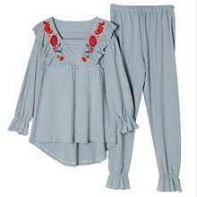 Новое модное платье для беременных хлопковый костюм с длинными рукавами и вышивкой «Луна» однотонная домашняя пижама с квадратным воротником
