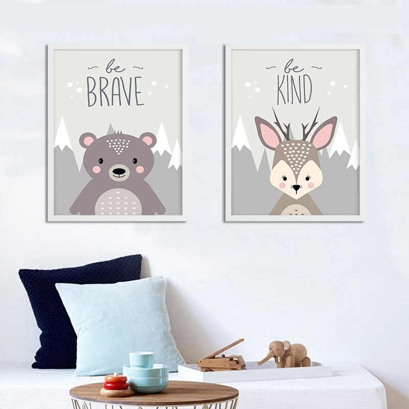 Woodland Animal Fox Bear Posters Nursery Prints Wall Art Canvas Painting Nordic Picture for Baby Kids Room Decoration No Frame