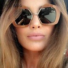 WFEANG Square Luxury Sun Glasses Brand Designer Ladies Oversized Sunglasses Women Big Frame Mirror For Female UV400