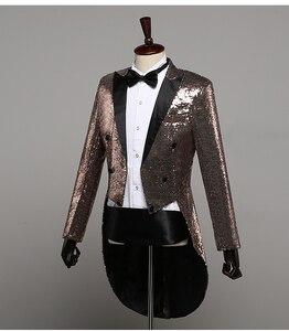 Image 4 - PYJTRL Mens แฟชั่นแชมเปญ Gold Silver Red Blue Black Sequins Tuxedo Swallowtail นักร้อง Paillette แจ็คเก็ตเครื่องแต่งกาย