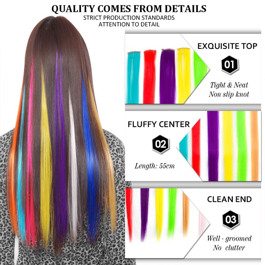 ELEGANTMUSER Färgad klämma i hårförlängningar Långa raka - Syntetiskt hår - Foto 2