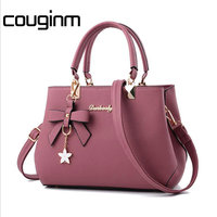 COUGINM New Women PU Leather Bags Brand Designer Star Bowknot Pendant Handbag Fashion Shoulder Bags Luxury