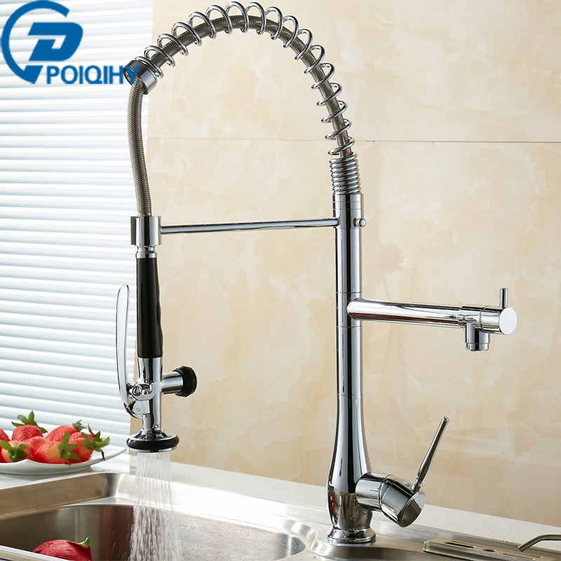 Chrome Bath Kitchen Sink Tap Deck Mount Kitchen Faucet Kichen Mixer Tap Faucet Spring Dual Sprayer Swivel Spout Faucet good quality wholesale and retail chrome finished pull out spring kitchen faucet swivel spout vessel sink mixer tap lk 9907