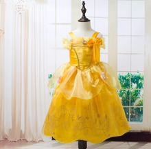 Fashion halloween cosplay costume kids midi princess belle costume gold party dress for girls kids