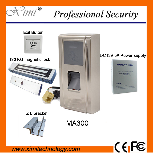 The MA300 fingerprint access control and the power lock and the power supply and ID card export button stand access control comp