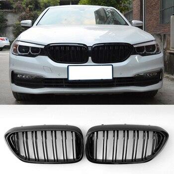 Rejilla negra brillante de doble línea para BMW G30 G38 F90 M5