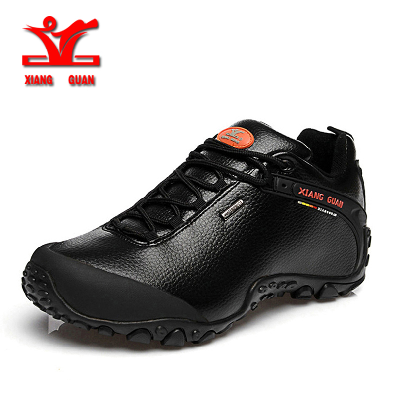 XIANG GUAN Outdoor Waterproof Hiking Shoes Men Women Genuine Leather Climbing Shoes Men Walking Shoes trekking