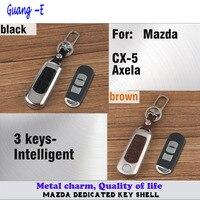 Pour Mazda CX-5 Axela voiture styling couverture en cuir + en alliage de Zinc Métal clés sac cas Portefeuille de la chaîne touche Intelligente lampe cadre partie 1 pcs