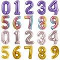 Большие фольгированные воздушные шары 40 дюймов, шары с цифрами для надувания гелием, 0, 1, 2, 3, 4, 5, 6, 7, 8, 9, украшения для вечеринки в честь Дня Ро...