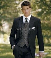Nuevo diseño negro del novio esmoquin padrinos de boda mejor hombre hombres traje de boda trajes novio traje ( Jacket + Pants + Vest + Tie ) envío gratuito