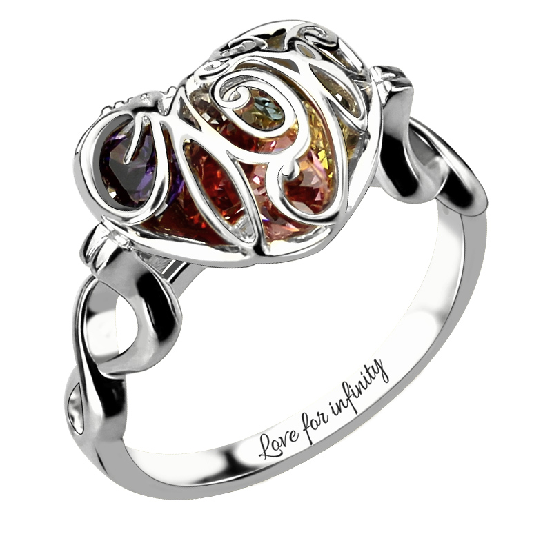 Wholesale Caged Heart Mother's Birthstone Ring Engraved Sterling Silver Infinity Name Ring Birthstone Ring for Mother caged slimming tee