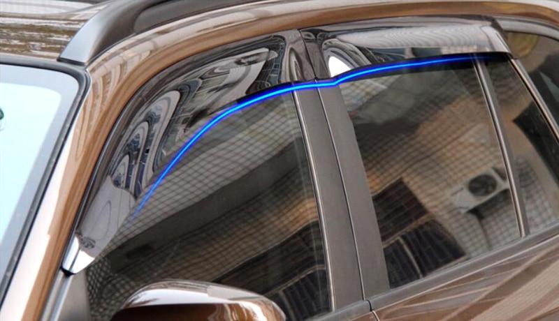 4 pieces / set Black Plastic Car Outer Window Visor Deflector Sun Rain Guard Shield Trim For BMW X5 E70 2008 2009 2010 2012 2013 4pcs set smoke sun rain visor vent window deflector shield guard shade for hyundai tucson 2016