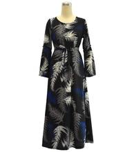 New Fashion Printed Flowers Plus Size Female Abaya O-neck Zipper Long Sleeve Dress Traditional Women Clothing Belt