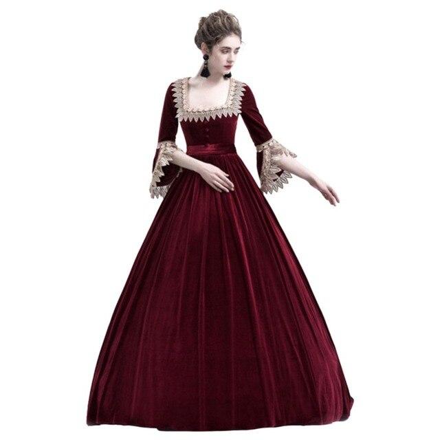 6ec9a14582cc1a Medieval Renaissance Costume Adult Women Dress Gown Tube Halloween Party  High Waist Skirts Costumes