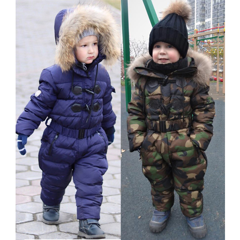 Kids Clothes Camouflage Snowsuit Rompers Autumn Winter Baby Girl Boy Clothes Russia -30 Hooded Jumpsuits Down Jacket for GirlsKids Clothes Camouflage Snowsuit Rompers Autumn Winter Baby Girl Boy Clothes Russia -30 Hooded Jumpsuits Down Jacket for Girls