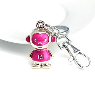 DHLFREE 100 PCS Mooie geëmailleerde Lichtmetalen Aap sleutelhanger Sleutelhanger Ringen voor Mannen Vrouwen Paar Lover Novelty Gift Trinket