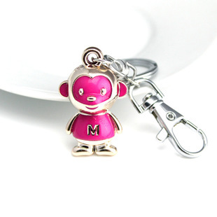 DHLFREE 100PCS Lovely enameled Alloy Monkey Key chain Keychain Rings for Men Women Couple Lover Novelty Gift Trinket