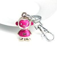DHLFREE 100PCS Lovely enameled Alloy Monkey Key chain Keychain Rings for Men Women Couple Lover Novelty Gift Trinket